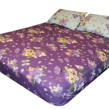 ملاية سرير مشجرة لون موف و تركواز